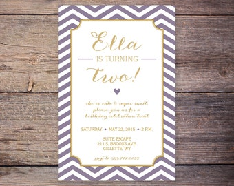 Digital Birthday Party Invitation, Purple & Gold Party Invitation, Purple Chevron Birthday Invitation, First Birthday Invite, DIY Printable