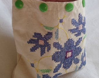 Small medium pouch with handmade embroidery