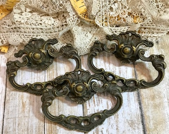 Vintage Ornate Furniture Hardware Salvaged Drawer Pull Set- Repurposed Furniture Supply- Dresser Hardware- A55