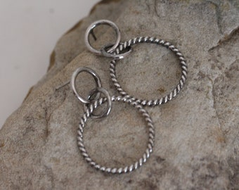 sterling silver hoop studs. textured. oxidized. 925 silver. Boho style