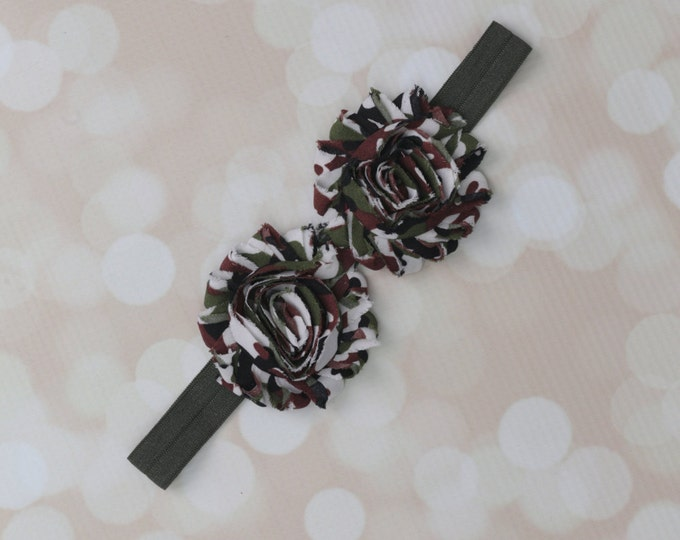 Camo print shabby flower headband on dark green soft stretch elastic. Perfect for newborns to adult! Army girls, support your soldier!