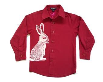 Bunny screenprinted dress shirt - size 4T