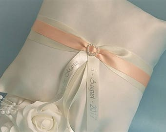Personalised Wedding Ring Cushion, Wedding Ring Pillow, for ring bearer. White/Ivory Satin. Silver/Gold lettering. Other colours available.