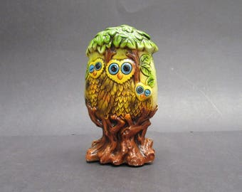 Vintage Mod Rossini Owls in Tree 1960s Ceremaster Piggy Bank (E9582)
