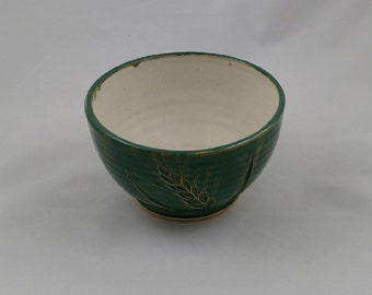 Leaf Green Serving Bowl Wheat Design Handmade Pottery by Daisy Friesen