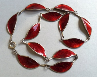 David Andersen Willy Winnaess Red Guilloche Enamel and Sterling Silver Necklace