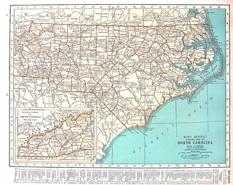 North Carolina, North Dakota Map - 1920 US State Map - Vintage World Atlas Map 11 x 14 2 Sided