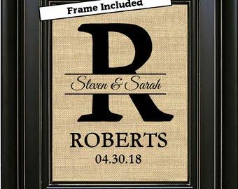 FRAMED Burlap Monogram Monogrammed Gifts Personalized Wedding Gift for Couple Gift for Bride Last Name Est Gift for Weddings Gift Idea