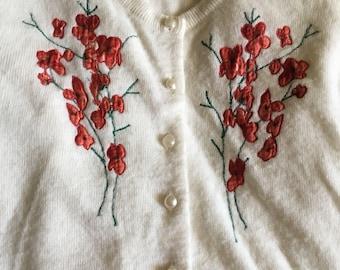 Red Flower Cardigan