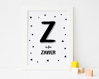 Personalized Baby Letter and Name, Printable Nursery Wall Art Decor, Black and White Gender Neutral Baby Gift, Digital Download *DIY PRINT*
