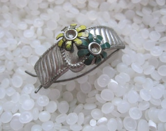 Vintage hair barrette , ponytail holder, metal green and yellow  flowers
