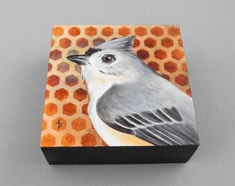 Indianermeise Malerei - kleine Singvogel Kunst Block original - Hinterhof Tierwelt - niedliche Vogel - Vogel-Kinderzimmer-Kunst - Malerei-grau und Pfirsich