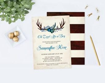 Deer Antler Baby Shower, Boy Oh Deer Baby Shower Invitation, Baby Shower Party, DIY Invites, Editable PDF Template Baby Shower Invitation