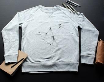 Origami Sweatshirt / / man / / women / / organic cotton / / gray / / handmade Illustration / / graphic / / bird / / dot work / / geometric / / drawing