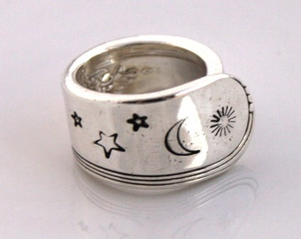 Spoon Ring, THUMB, Forefinger Ring - YOUTH 1940 - Spoon Jewelry - Stamped with Sun, Moon Stars - Made In Usa - Size 10.5