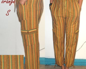 Real Cotton Trousers size S Ethnic Boho Hippi Incredible Comfortable  green yellow red green fuchsia stripes colours funky travel pants