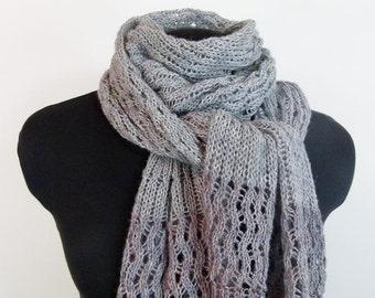 Beaded Knit Scarf - Temptation in Grey & Lavender - Item 1255