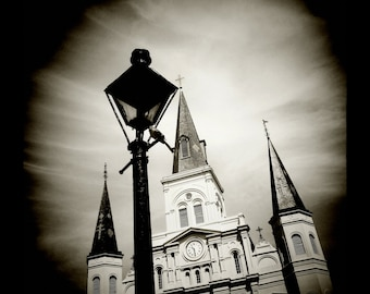 St. Louis Cathedral in Black and White by J. Ensley