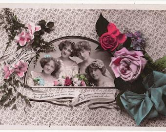 GLAMOUR, Vintage Real Photo Postcard,Lovely Women,Birthday, Roses, ARISTOPHOT, 1911
