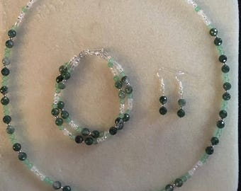 Emerald Green Glass Beaded Necklace with Matching Beaded Bracelet and Beaded Earrings Set