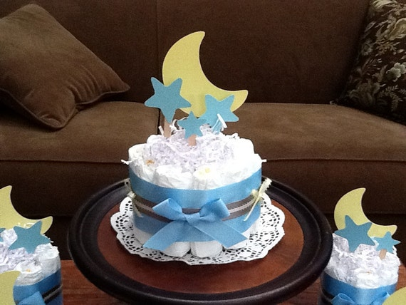 Moon and stars whimsical diaper cake baby shower centerpiece for Baby footprints cake decoration