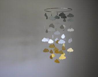 Cloud Mobile - Gray, White Yellow // Sunshine & Rain // Nursery Mobile - Choose Your Colors