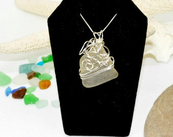 Sea Glass Jewelry, Wire Wrapped Necklace, Sea Glass Necklace, Mermaid Jewelry, Sea Glass Pendant, Lake Erie Jewelry