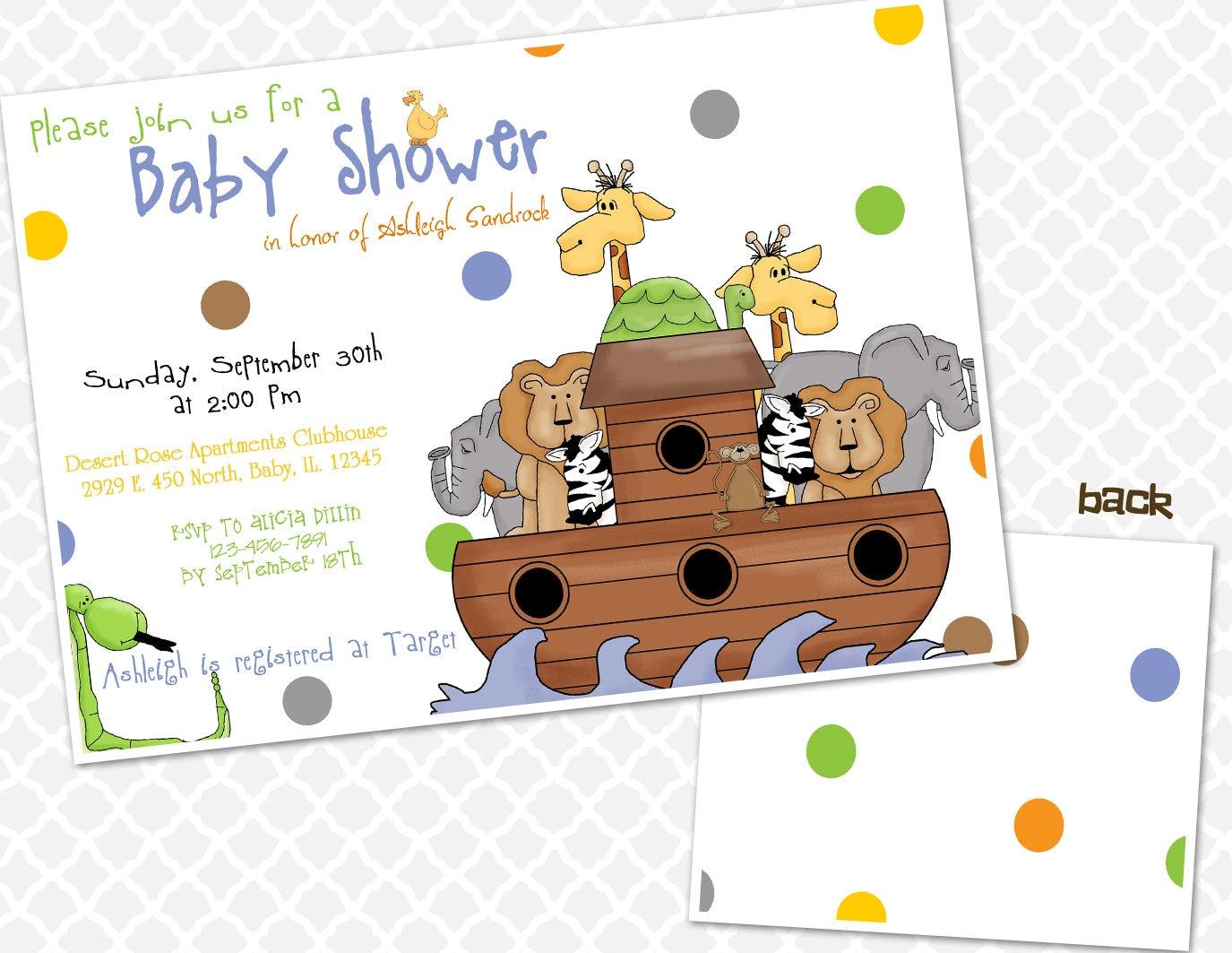 Noah\'s Ark Baby Shower Invitation Animals Baby Shower