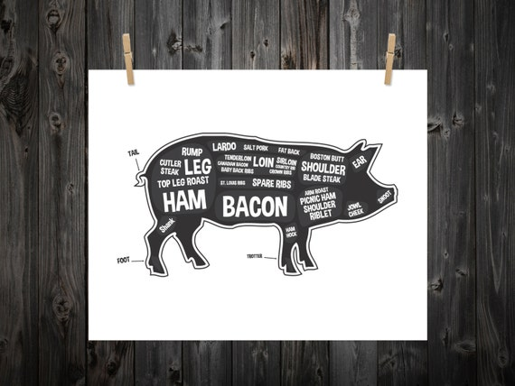 pig butcher diagram butcher print butcher chart pig rh etsy com pig meat diagram pig meat diagram bacon