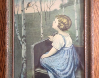 1920's print Bird Song by Simon Glucklich