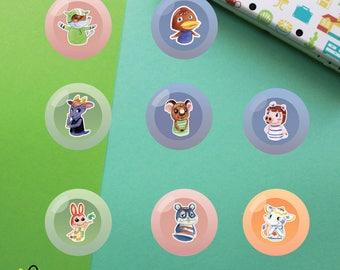 Villagers #4 Buttons | Animal Crossing New Leaf | Big Top Bill Kidd Melba Peggy Bunnie Rodney Tia