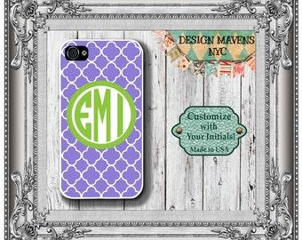 Preppy Monogram iPhone Case, Purple Geometric iPhone Case, Personalized Case, iPhone 8, 8 Plus, iPhone 7, 7 Plus, iPhone 6s, 6 Plus, 5s, 5c