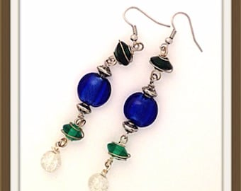 Handmade MWL blue, silver and green beaded dangle earrings. 0114