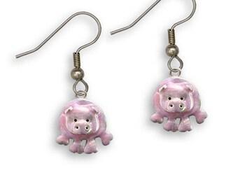Enamel Hand Painted Pig Earrings