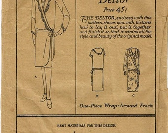1920s Flapper Dress V Neckline Scallop Trim Drop Waist Wrap Dress Butterick 1467 Unused FF Bust 36 Womens Vintage Sewing Pattern