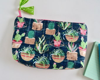 Zipper Pouch  - Cactus Make up Bag - Navy Floral Pouch - Modern Floral Pouch - Gift for Moms - Succulent Pouch - Toiletry Bag - Big Pouch