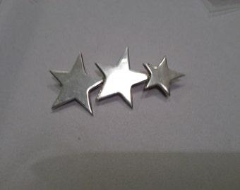 Vintage Sterling Silver Shooting Stars Brooch signed Mexico 925.  Three Star Brooch.