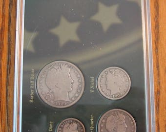Four Coin Set w/Three .900 fine US Silver Coins  Barber Dime, Quarter and Half Dollar