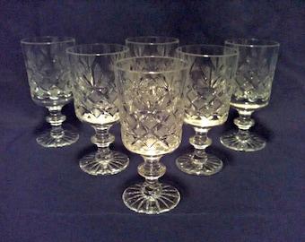Vintage Cordials, Set of 6 Crystal Aperitif Glasses, Crosshatch & Cut Fan, Star Foot, Wafer Stemware, Square Bowl, Mid Century, Circa 1950s