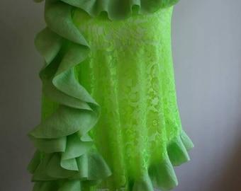green nuno felt wrap shawl, evening shawl, green lace shawl, ruffled shawl, occasion shawl, nuno felt shawl, wedding lace wrap
