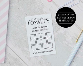 Loyalty card templates instant download editable pdf loyalty card templates instant download business printables editable loyalty cards business templates reheart Choice Image
