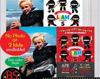 Ninja Birthday Invitation, Ninja Invitation, Ninja Party invite