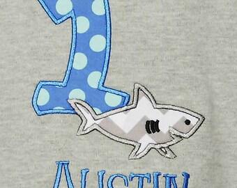 Shark Birthday Shirt, Any Age, Custom Colors, Fabrics, and Font