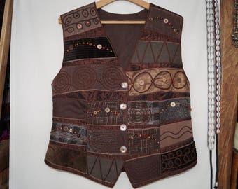 Brown waistcoat, emroidered waistcoat, bohemian waistcoat, festival waistcoat, hungarian folk waistcoat, hippie waistcoat, boho waistcoat
