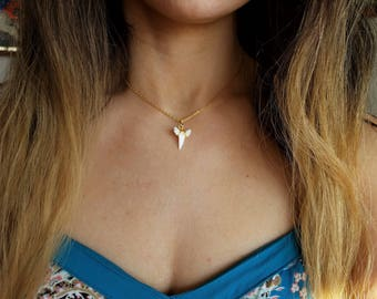 Shark tooth choker necklace, gold chain choker, silver chain choker