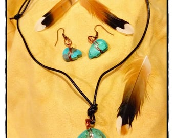 Turquoise Bear Pendant Necklace and Matching Earrings  with Leather Cord and Copper Findings