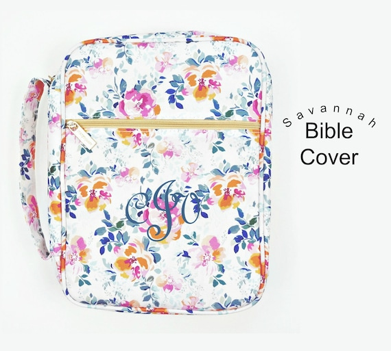 Monogrammed Savannah Floral Bible Cover