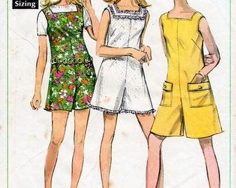 1960s Mini Jumpsuit Pattern Simplicity 7684 Vintage Sewing Pattern Short Summer Square Neckline Playsuit Pantdress Romper Bust 32.5