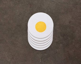 Coaster-  Fried Egg, Letterpress Printed