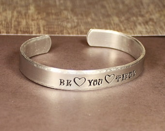 Be You Tiful - Hand Stamped Cuff Bracelet - Message Jewelry